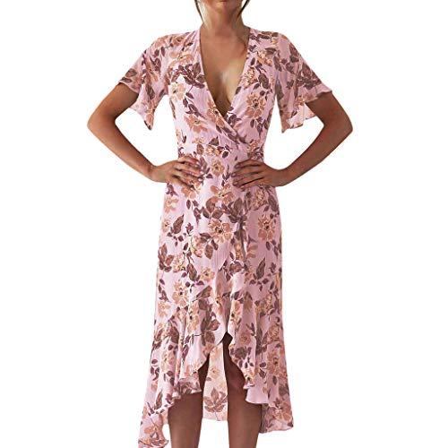 Fenverk Damen Kleider Boho Sommerkleid V-Ausschnitt Maxikleid Kurzarm Strandkleid Lang Mit Schlitz Sommerkleider Kleid Swing Abendkleider(Rosa,M)