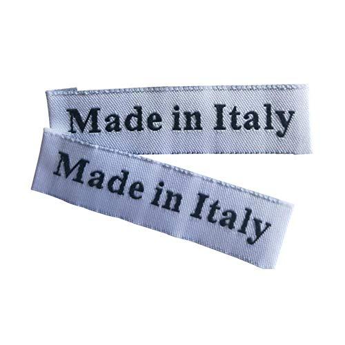 100 Stück/Los Italien Bekleidungsetiketten für handgefertigte Kleidungsstücke aus Italien gewebtes Etikett Benutzerdefinierte Nähetiketten für Handarbeitszubehör, Weiß 100 Stück