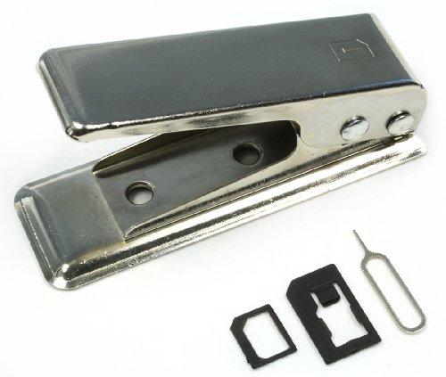 com-four SIM zu Nano SIM-Karten Cutter Stanzer Schneider für iPhone 5 5S 5C 4 4S iPad 2 3 4 Galaxy S3 S4 Lumia HTC One S X Experia Z Z1 Optimus G - inkl. 2 Adapter (Micro SIM + Standard SIM)