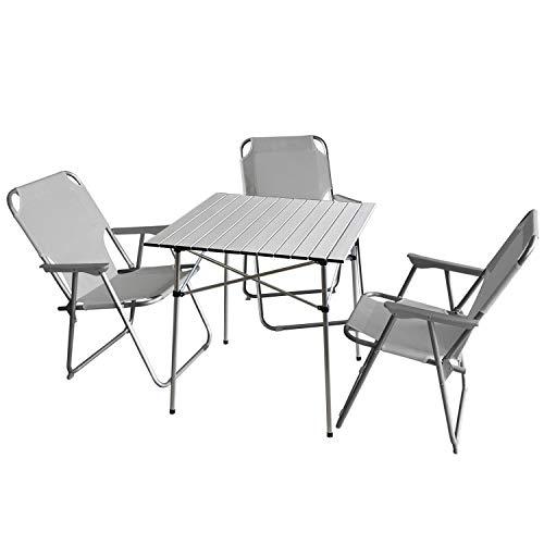 Wohaga 4tlg. Campingmöbel Set Faltbarer Campingtisch 'Ameland' Silber, 70x70cm + 3X Campingstuhl, Hellgrau/Strandmöbel Campinggarnitur Gartenmöbel