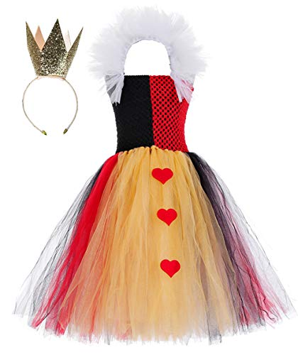 Tutu Dreams Queen of Hearts Costume for Toddler Girls Red Tutu Dress with Crown Accessories Halloween Carnival Party (Queen, Medium(3-4T))