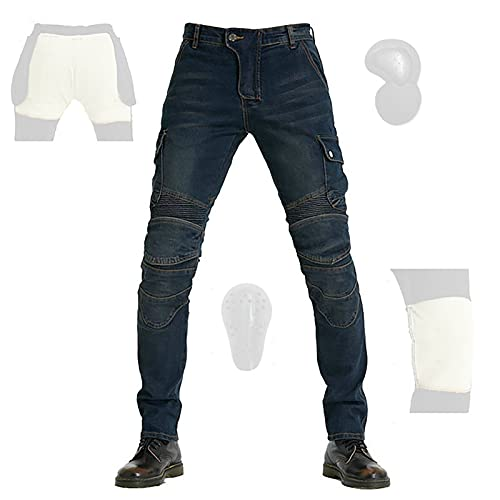 CYLZRCl Pantalones Moto Motociclistas Hombres Chaparreras protección Montar Pantalones Moto Pantalones Motociclista con 2 Pares Almohadillas Protectoras, Moda (Color : Blue, Tamaño : L)