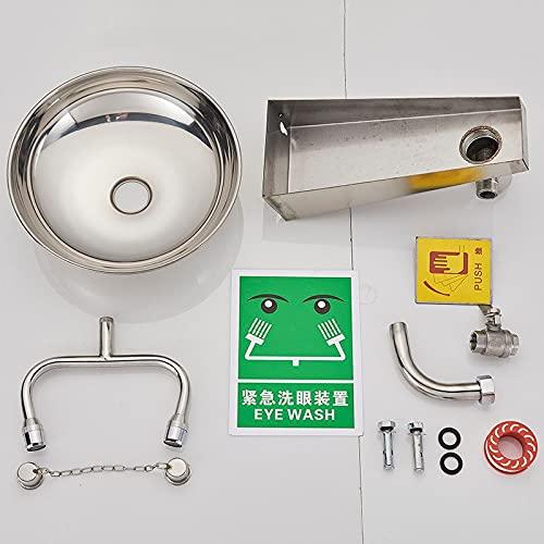 Grifo de la cocina Estación lavaojos para colgar en la pared de acero inoxidable amarillo y 304 adecuada para laboratorios de fábricas hospitalarias