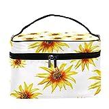 Bolsa de maquillaje de viaje con patrón de girasoles amarillos, bolsa de maquillaje grande, organizador con cremallera, para mujeres y niñas