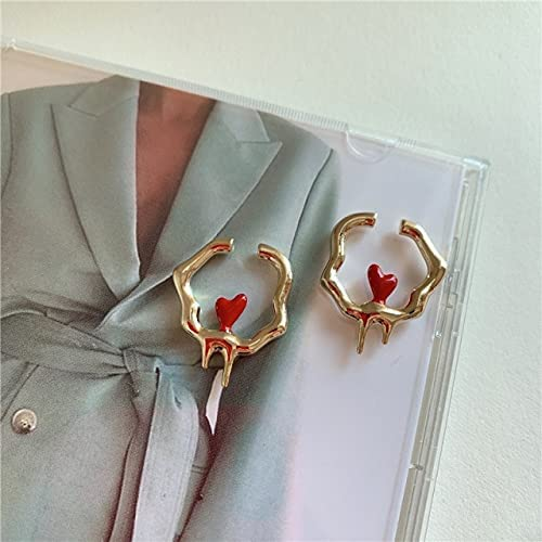 2021 Deign Red Heart Artistic Melting Metallic Geometric Irregular No Piercing Ear Cuff Clip Earrings for Women
