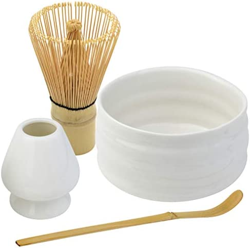 Bskifnn Japanese Tea Set-4PC Japanese Matcha Ceremony Accessory,Matcha Whisk,Whisk Holder,Bowl,Tea Spoon Perfect Set to Beginners