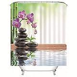 Chickwin Duschvorhänge Anti Schimmel, 3D Phalaenopsis Motiv Duschvorhang Wasserdicht Waschbar Bad Vorhang Polyester Badewanne Vorhang mit 12 Duschvorhangringe (Grüner Bambus,200x200cm)