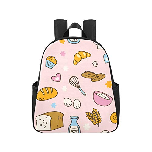 Coloré Food Dessert Toast Pain Bookbags 12.40x5.12x14.17inch Sacs à Dos pour Les collégiens Multipurpose Casual High School Sacs à Dos Business Travel School, Bureau
