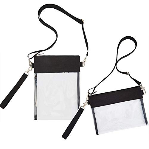 """Clear Crossbody Purse Bag - NFL,NCAA & PGA Stadium Approved Clear Shoulder Tote Bag With Wrist Strap for Work, Sports Games Black Size: 9.8x7.6"""""""