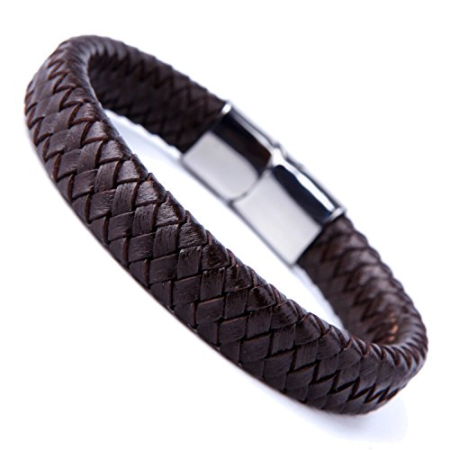 Pulsera de color marrón oscuro, con puño de cuero trenzado, con elegante cierre de acero inoxidable 316L, para hombre