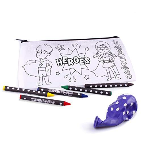 10 Estuches para Colorear   10 Bolsas Individuales con 5 Ceras de Colores y Globo   Regalo niños Fiestas y cumpleaños