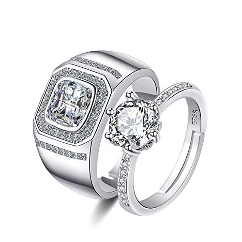 Uloveido White Gold Plated Zircon Diamond Wedding Bands Engagement Ring Set for Him and Her Cubic Zirconia Solitaire Halo Rings Promise Y851-Silver