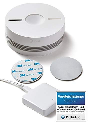 Rauchmelder 1ER Set - Funk Vernetzbar + Dual Version + WLAN Gateway + Magnethalterung + Lithium 10 Jahres Batterie von iHaus Smart Home (VDs - DIN EN 14604)