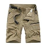 Kolongvangie Cargo Shorts Men's Multi Pocket Elastic Waist Nylon Quick Dry Casual Shorts Big and Tall Sizes