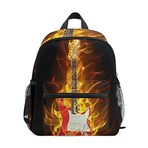 WowPrint Musik E-Gitarre Feuer Muster Rucksack Kinder Kindergarten Vorschultasche Büchertasche Tasche für Kleinkinder Mädchen Jungen Unisex