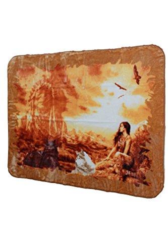 YSN Home Collection 1703 - Wolldecke Decke Kuscheldecke Tagesdecke Indianer, Single oder 2-Personen - 205x230 cm USA Amerika Native Americans