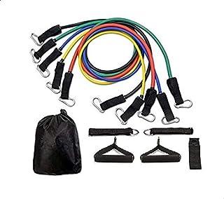 احزمة لاتيكس بمقاومة عالية للياقة البدنية وقاعات الرياضة المنزلية 11 قطعة، مجموعة حبال يوغا لتمارين عضلات المعدة P90X H8329