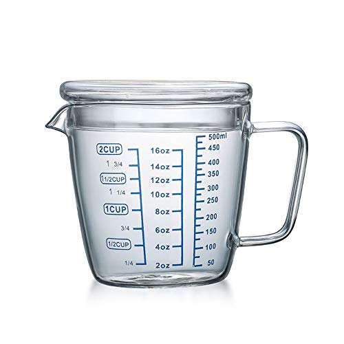 ITODA Glass Measuring Cup with Lid, Borosilicate V-Shaped Spout Microwave Safe Kitchen Accessories 3 Measurement Scales Cup, ML, OZ Easy Measure Liquid Powder Milk Cups for Cooking Baking