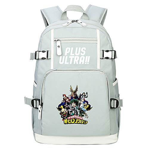 PAPLIU Mochila Mi héroe Academia Gris Unisexo Anime Cosplay Laptop Bag Mochila Mochila Escolar