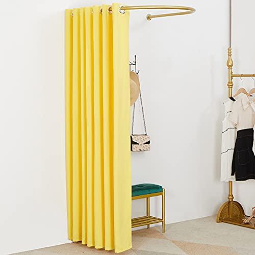 Vestidor montado en la pared Probador en forma de U, Tienda de ropa Riel de metal Vestuario Sombreado Cortina Protección Kit de privacidad, Partición exterior temporal Vestuario de apartamento