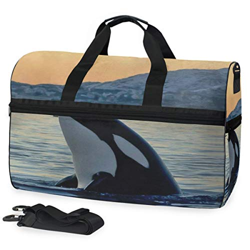 SLHFPX Killer Whale Gym Bag with Shoes Compartment Sports Swim Travel Overnight Duffels
