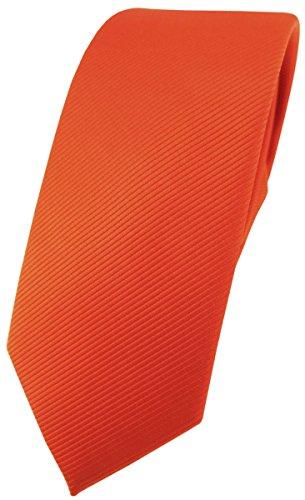 TigerTie schmale Designer Krawatte in orange leuchtorange einfarbig Uni Rips gemustert