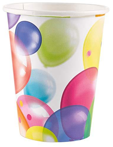 amscan 9900322 8 Papierbecher Balloons, 250 ml, Weiß & Mehrfarbig