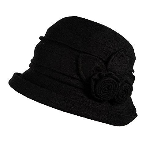 Wolle schwarz 1920s Retro Glockehut Fischerhut für Damen Klassische klappbare Bowler Hut Winter