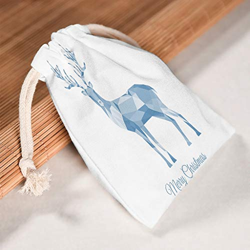 Lind88 6 Stück Weihnachtssäckchen mit Kordelzug Aufbewahrungstasche für Silvester Party Geschenke Wickeltaschen – Elch Stil Druck, Baumwolle, weiß, 12 * 18cm