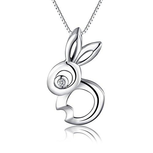 Afamo 925 Sterling Silber süße Kaninchen, Rabbit, Hase, Besondere Geschenke für Frauen Damen Mädchen