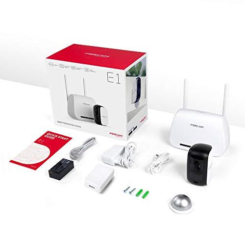 Foscam E1 Sistema sin Cables - Cámara IP WiFi a batería con grabación en la Nube Gratis, 1080P HD, detección, Seguridad, visión Nocturna, Audio bidireccional, Uso en Interiores/Exteriores