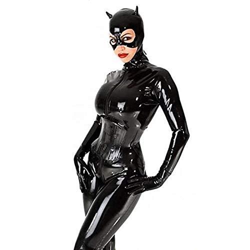 Halloween Frauen Cosplay Catwoman Jumpsuit Kostüm Kleid PU Leder Catsuit Eleganter Enger Bodysuit Plus Size S-5XL
