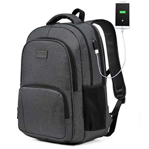 Laptop Rucksack, VASCHY Wasserabweisend Schulrucksack für 15,6 Zoll Laptop Großer Rucksack für Herren Damen Arbeit Reise Hochschule Studenten mit USB Ladeanschluss Dunkelgrau