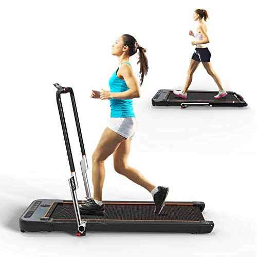 YSSPORT Folding treadmills Under Desk Treadmill with Installation-Free,Treadmill for home office use,2 in 1 Portable Walking Jogging and Running Machine, Remote Control, Bluetooth Speaker, LED Display