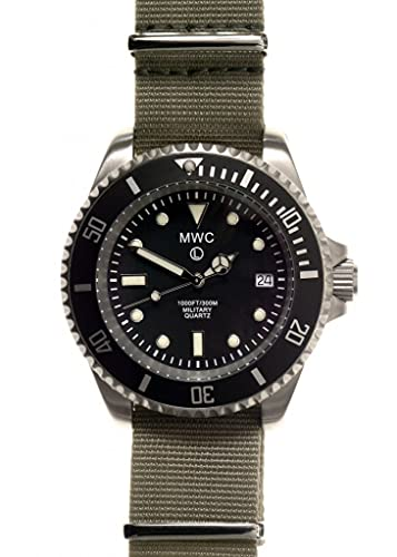 MWC Reloj de cuarzo 300 m Stainless Steel Submariner Military para hombre