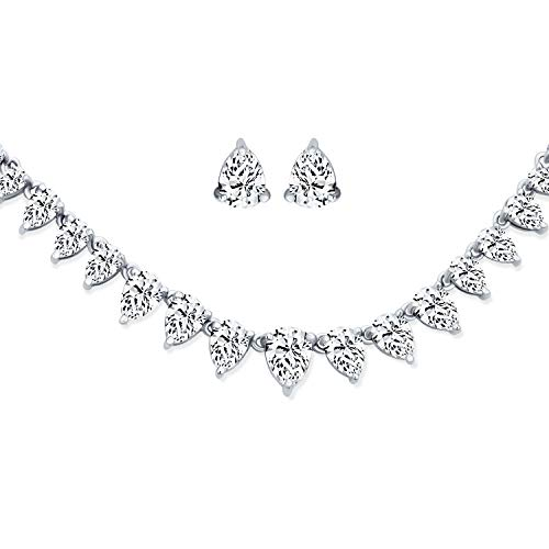 Bling Jewelry Nuptiale Zircone Cubique Déclaration Larme AAA CZ Collier Bijoux Boucles Rivière De Pierres Femme Plaqué Argent Mariage