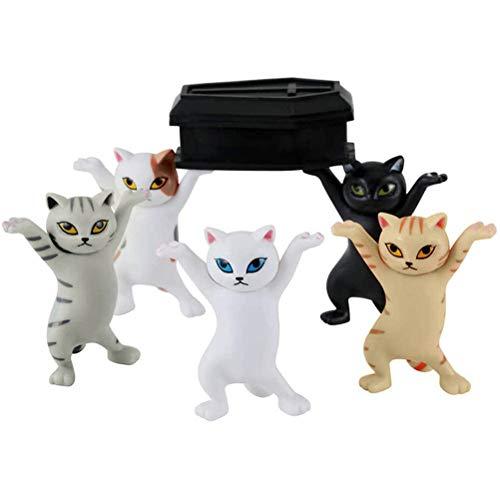 Marco de soporte de papelería, 5pcs / set Figuras de baile de ataúd de gato, gatos que bailan y portaplumas que llevan ataúd Marco de soporte de gato Portapapeles de papelería
