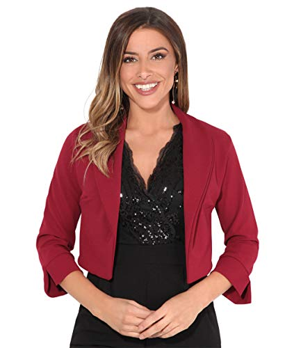 KRISP Womens 3/4 Sleeve Shrug Crop Bolero Top Open Jacket Blazer (Wine, 16), 3729-STN-16