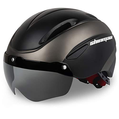 Shinmax Bike Helmet, Bicycle Helmet Men/Women CPSC Safety Standard with Detachable Magnetic Goggles Adjustable for Adult Road/Biking/Mountain Cycling Helmet BC-001 Bonus Carrying Bag (BlackTianium)