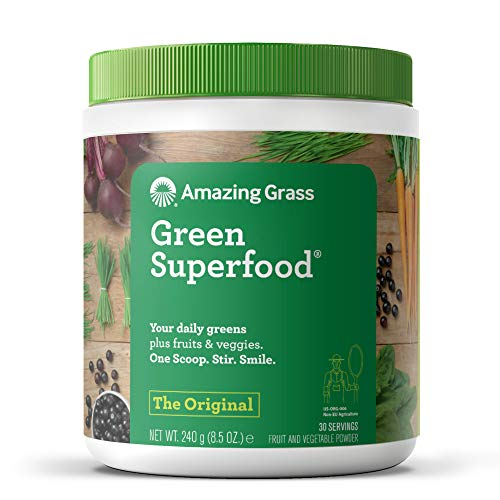 Amazing Grass Green Superfood: 7 Super Greens Powder, 2 servings of Fruits & Vegetables per scoop, Original Flavour, 30 Servings