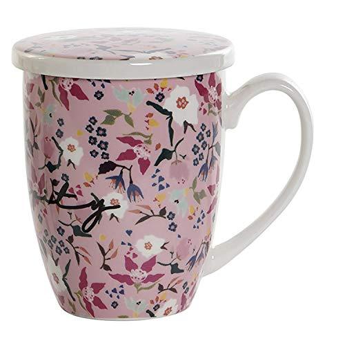 Hogar y Mas Taza Té con Filtro y Tapa de Porcelana, Diseño Floral/Original, 380 ML (Rosa)