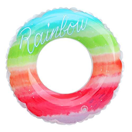 MMIAOO Anillo de natación colorido, anillo de natación arco iris engrosado, anillo inflable de goma de la piscina flotante, suministros de deportes de agua para natación de verano (colores arco iris)