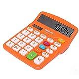 QiKun-Home Calculadora Solar de Color de Pantalla Grande de Oficina de Moda Calculadora de Color de energía Solar compacta y Conveniente Naranja