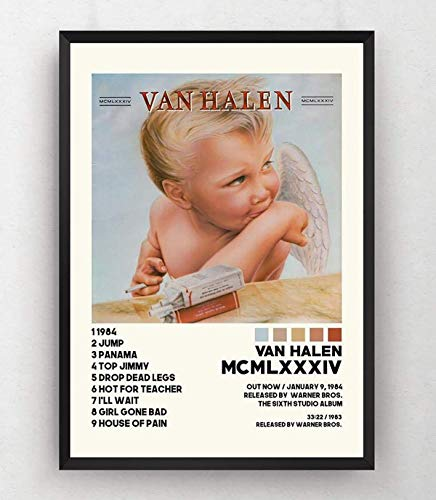 Eddie Van Halen Poster - 1984 Album Tracklist Poster - Diver Down Poster - 1984 Album Cover, RIP Eddie Van Halen - 11x17 16x24 24x36 Inch (No Frame)