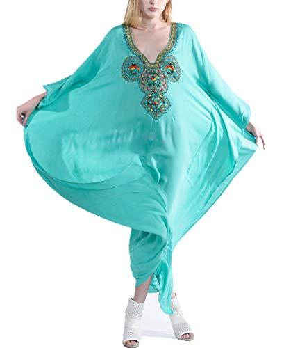 AiJump Vestido de Playa Pareo Maxi Kaftan Estampado de Algodón Bañador Cover Up Mujer