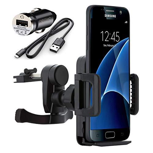 NessKa® Premium auto mobiele telefoon ventilatie houder houder met laadfunctie + oplader Micro USB-oplaadkabel auto-adapter voor Samsung Galaxy S7 S6 Edge S5 Neo S4 S3 Mini A3 A5 A7 J1 J3 J5 J7 Note 1 2 3 4 5