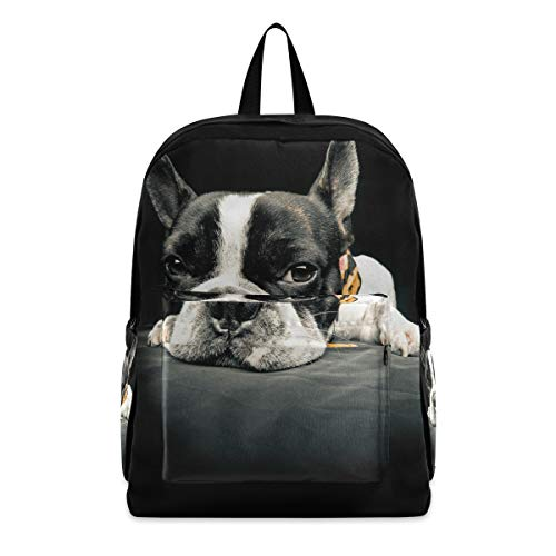 Backpack Travel Rucksack, French Bulldog Lightweight School Bag for Students Teens Girls Boys