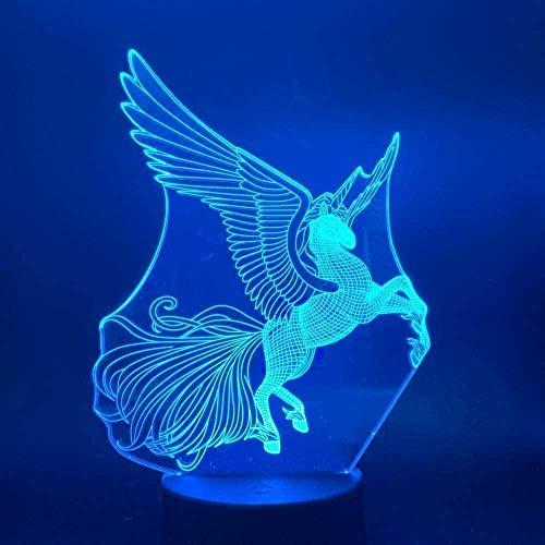 Óptico 3D LED luz de Noche Pegasus Unicorn Table Lámpara de Mesa 7 Variantes de Color Ambience Light Decoration Light para niños y niñas-N18-N16