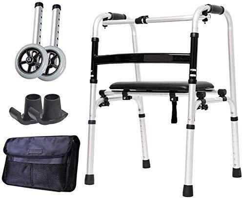 BXU-BG Rollstuhl Leichte faltbare Walker mit Anti-Rutsch-Soft-Sitz, Höhenverstellbarkeit Stehen Laufgestell...
