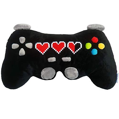 moodrush® XL Gamepad Controller Kissen mit 3D Knöpfen | Nicht Bedruckt! Sondern Alles aus Plüschstoff | waschbar | Wireless | Nackenkissen | ca. 50 x 30 cm